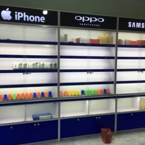 tủ trưng bày điện thoại sát tường